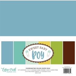 """Sweet Baby Boy Coordinating Solids Paper Pack 12""""x12"""" Echo Park"""