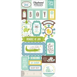 """Sweet Baby Boy Adhesive Chipboard Stickers Phrases 6""""x12"""" Echo Park"""