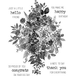 """Glorious Bouquet With Grid Block Cling Stamps 7""""x8.5"""" Tim Holtz"""