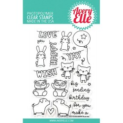 """Party Pals Clear Stamp Set 4""""x6"""" Avery Elle"""