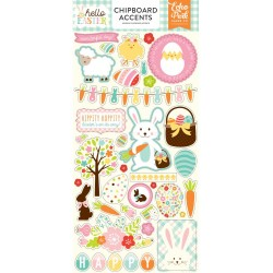 "Hello Easter Adhesive Chipboard Accents Stickers 6""x12"" Echo Park"