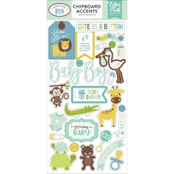 "Sweet Baby Boy Adhesive Chipboard Accents Stickers 6""x12"" Echo Park"