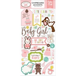 "Sweet Baby Girl Adhesive Chipboard Accents Stickers 6""x12"" Echo Park"