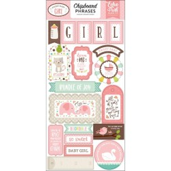 "Sweet Baby Girl Adhesive Chipboard Phrases Stickers 6""x12"" Echo Park"