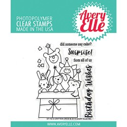 """Critter Crew Clear Stamp Set 4""""x3"""" Avery Elle"""