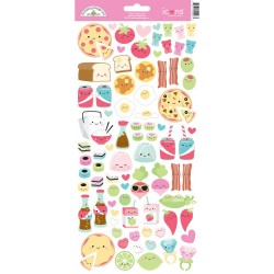"So Punny Food Icons Cardstock Stickers 6""x12"" Doodlebug"