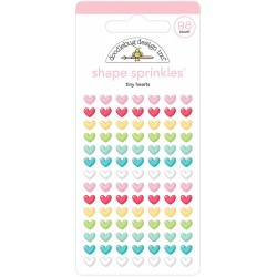 Tiny Hearts Shape Sprinkles Adhesive Glossy Enamel Shapes Doodlebug