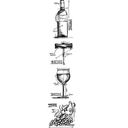 Wine Mini Blueprints Strip Cling Mounted Stamp Set Tim Holtz Collection