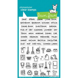 "Spring Cleaning Plan On It Clear Stamps 4""x6"" Lawn Fawn"