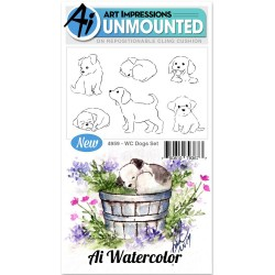 Watercolor Dogs Set Cling Rubber Stamp Art Impressions