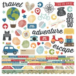 "Travel Notes Combo Cardstock Stickers 12""x12"" Simple Stories"