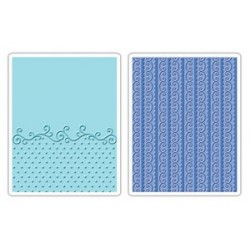 Flourish Dots & Ribbon Set Textured Impressions Embossing Folders