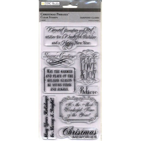 Christmas Phrases Rubber Cling Stamps TPC Studio