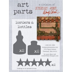 Borders and Bottles Art Parts Chipboard Studio 490 Wendy Vecchi