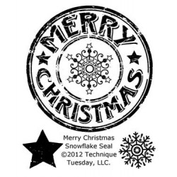 "Merry Christmas Snowflake Seal Clear Stamps 2""x2.5"" Technique Tuesday"