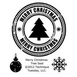 "Merry Christmas Tree Seal Clear Stamps 2""x2.5"" Technique Tuesday"