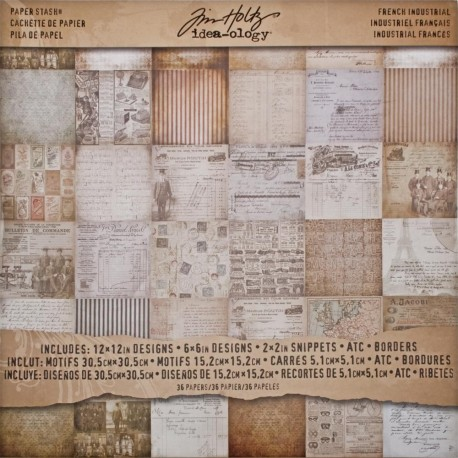"French Industrial Paper Stash 12""x12"" Idea Ology by Tim Holtz"