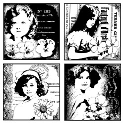 Four Pretty Young Girls Rubber Stamp Crafty Individuals