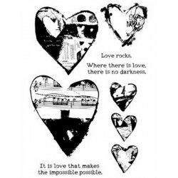 Collaged Hearts Dina Wakley Media Stamps