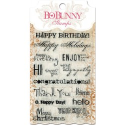 """Sentiments Clear Stamps 4""""x6"""" Bo Bunny"""