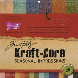 "Seasonal Embossed Impressions Collection Kraft Core Tim Holtz 12""X12"" Cardstock Assortment"