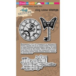 "Steampunk Andy Skinner Cling Rubber Stamp 5""x7"" Stampendous"