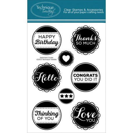 """Sentiment Circles Clear Stamps 4""""x6"""" Technique Tuesday"""