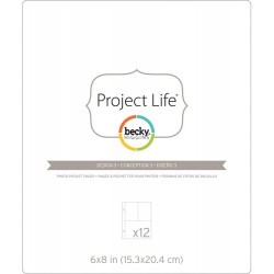 "Design 3 Photo Pocket Pages 6""x8"" Project Life Page Protectors 12 Pkg"