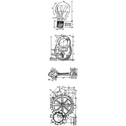 Industrial Mini Blueprints Strip Cling Mounted Stamp Set Tim Holtz Collection