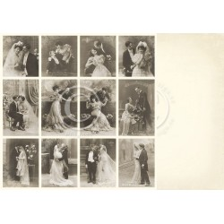 "Wedding day 12"" x 12"" Vintage Wedding Pion design"