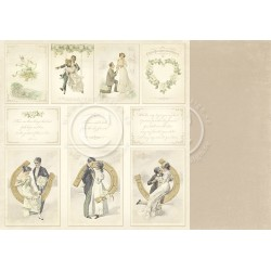 "Images 12"" x 12"" Vintage Wedding Pion design"