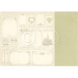 "Tags 12"" x 12"" Vintage Wedding Pion design"
