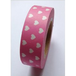 Pink with White Hearts Love My Tapes Washi Tape 15mm x 5m