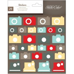 "Cameras Snippets Chipboard Stickers 6""x7"" Studio Calico"