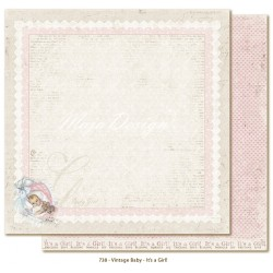 "It's a Girl 12""x12"" Vintage Baby Maja Design"