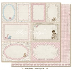 "Journaling Cards Pink 12""x12"" Vintage Baby Maja Design"