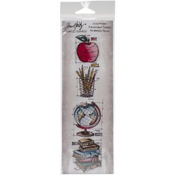 Schoolhouse Mini Blueprints Strip Cling Mounted Stamp Set Tim Holtz Collection