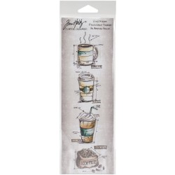 Fresh Brewed Mini Blueprints Strip Cling Mounted Stamp Set Tim Holtz Collection