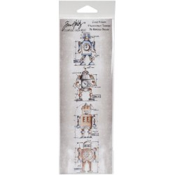 Robot Mini Blueprints Strip Cling Mounted Stamp Set Tim Holtz Collection