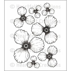 Blazing Poppy Petals Cling Rubber Stamps Heartfelt Creations