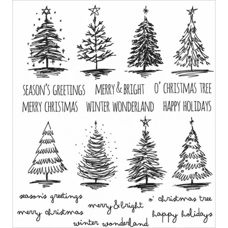 "Timbri Mini Weathered Winter Tim Holtz Cling Rubber Stamp Set 7""x8,5"""