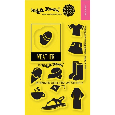 """Planner Add-On Weather 1 Clear Stamps 2""""x3"""" Waffle Flower Crafts"""