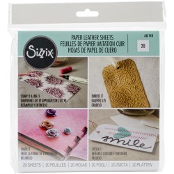 """White Paper Leather 6""""x6"""" Sheets 20 Pkg Sizzix"""