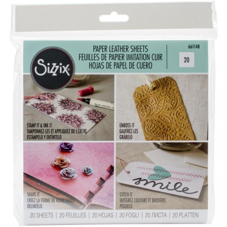 "White Paper Leather 6""x6"" Sheets 20 Pkg Sizzix"