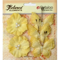 Flowers Petaloo Yellow Burlap Butterflies & Blossoms 5 Pkg