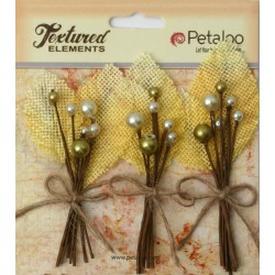 Fiori Petaloo Yellow Burlap Picks 3 Pkg