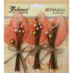 Flowers Petaloo Apricot Burlap Picks 3 Pkg