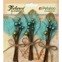 Flowers Petaloo Teal Burlap Picks 3 Pkg