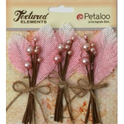 Flowers Petaloo Pink Burlap Picks 3 Pkg