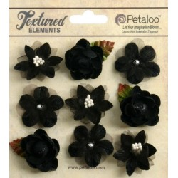 Flowers Petaloo Black Mini Blossoms 9 Pkg